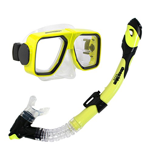 Deep Blue Gear Spirit 2 Ultra Dry Diving Mask and Dry Snorkel Set, Adult, Yellow