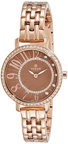 Titan Analog Brown Dial Women #39;s Watch NM95041WM02 / NL95041WM02