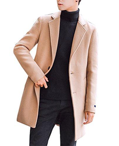 Uomo Trench Coat Sottile Caloroso Cappotto Di Lana Finto Inverno Classico Collare Giacche Manica Lunga Cachi