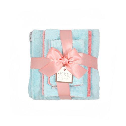 Minky Dot New (MEG Original Coral & Aqua Minky Dot Baby Girl Shower Gift Set, 950)