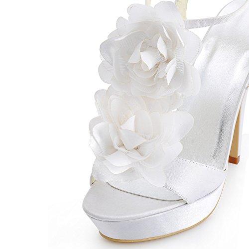 Kevin Fashion gymz670Ladies flores lazo satinado novia boda plataforma sandalias blanco