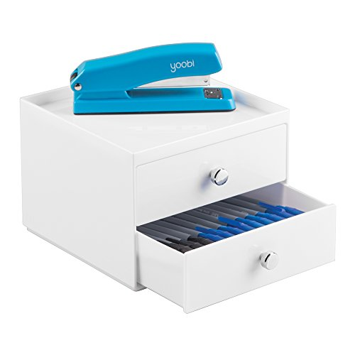 mDesign Office Supplies Desk Organizer for Pens, Pencils, Markers, Highlighters, Tape - 2 Drawer, White - Executive 2 Drawer