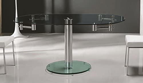 Casabianca Furniture THAO Stainless Steel Clear Glass Extendable Dining Table by Casabianca Home,