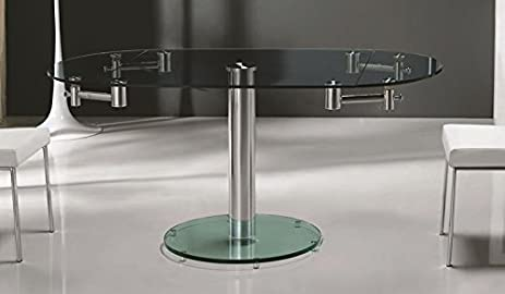 Casabianca Furniture Thao Collection Glass Extendable Dining Table, Stainless  Steel/Clear