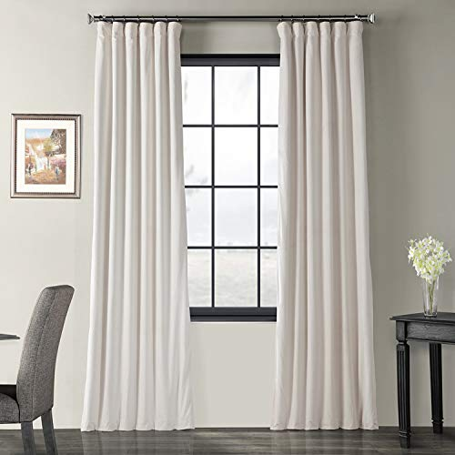 Half Price Drapes VPCH-120601-84 Signature Blackout Velvet Curtain, Ivory, 50 X 84 (Ivory Curtain Pole)