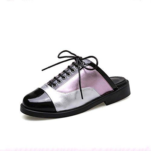 Heart&M Punta cerrada dedo del pie redondo talón plano de tacón bajo con cordones multicolores sandalias de los deslizadores los zapatos de cuero de las mujeres Purple