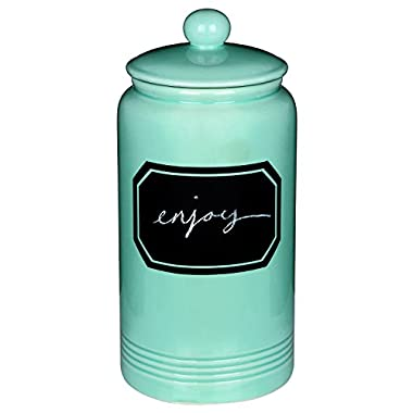 12  Large Turquoise Ceramic Cookie Jar Kitchen Canister w/ Vintage Style Black Chalkboard Label