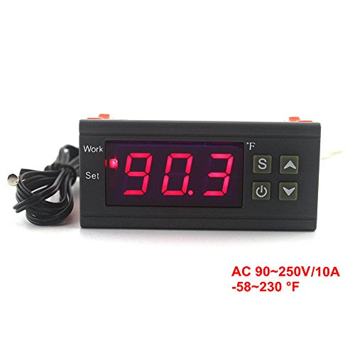 KETOTEK Digital Temperature Controller -58~230F AC 110 220V 10A Thermostat Regulator Heating Cooling Control Relay Egg Incubator Farming
