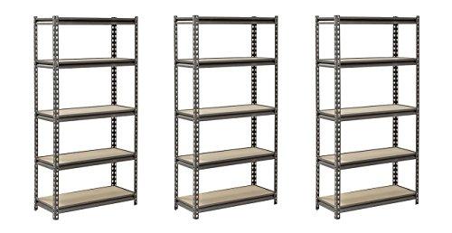 "Muscle Rack UR301260PB5P-SV Silver Vein Steel Storage Rack, 5 Adjustable Shelves, 4000 lb. Capacity, 60"" Height x 30"" Width x 12"" Depth (Pack of 3)"