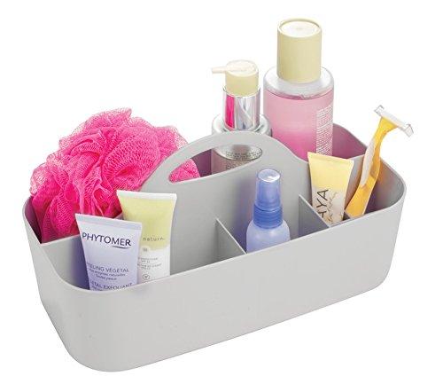 (mDesign Bathroom and Dorm Plastic Shower Caddy Tote Storage Organizer for Shampoo, Soap, Lotion, Razors - Medium, Light Gray)