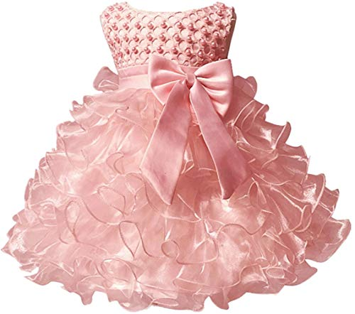 Jup'Elle Little Baby Girl Dress Flower Ruffles Party Wedding Pageant Princess Pink Dresses ()