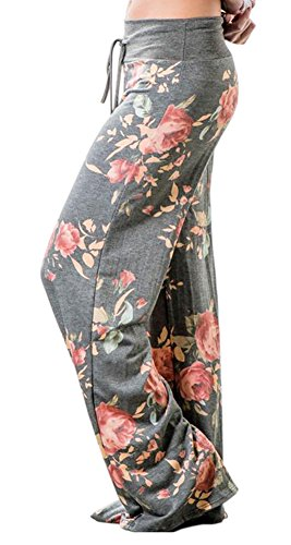 Artfish Women Loose Baggy Yoga Long Pants Floral Printed Trousers (XL, Grey)