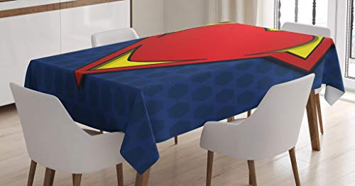 Ambesonne Superhero Tablecloth, My Super Hero Shield Logo Heart Figure Valantines Romance Print, Dining Room Kitchen Rectangular Table Cover, 52 W X 70 L Inches, Night Blue Red Yellow ()
