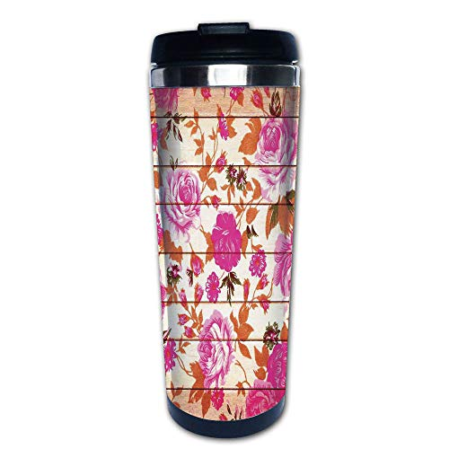 Stainless Steel Insulated Coffee Travel Mug,Color Roses on Wood Background Well Being and Love,Spill Proof Flip Lid Insulated Coffee cup Keeps Hot or Cold 13.6oz(400 ml) Customizable ()