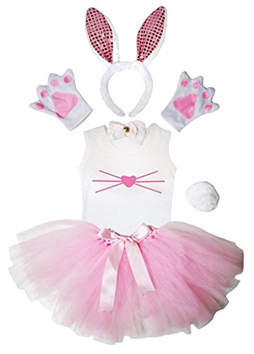 Petitebella Headband Bowtie Tail Gloves Shirt Skirt 6pc Girl Costume (Pink SE Bunny Nose, 6-8 Yr)