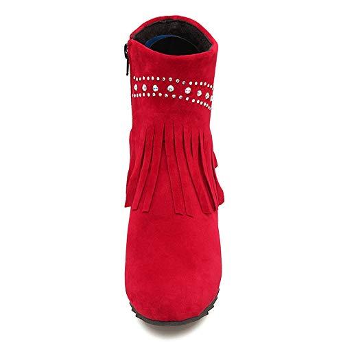 con con con Cerniera Stivaletti Altezza in 7 Donna Aumento Rosso Rosso Rosso RAZAMAZA Frange OYw461qaW