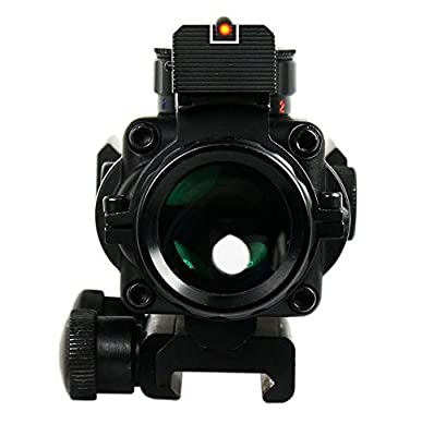 Vokul® Rifle Scope Tactical 4x32 Red-Green-Blue Triple Illuminated Rapid Range Reticle Scope With Top Fiber Optic Sight
