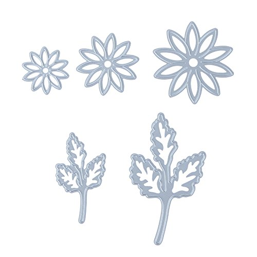 Whitelotous 5pcs Flower Leaves Cutting Dies Handmade DIY Stencils Template Embossing for Card Scrapbooking Craft