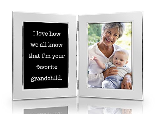 I Love How We All Know That I'm Your Favorite Grandchild 4x6 Funny Picture Frame Set - Double Hinged Photo Frames - Gift for Mom Dad Grandma Grandpa Men Women Birthday Mother's Father's Day Christmas