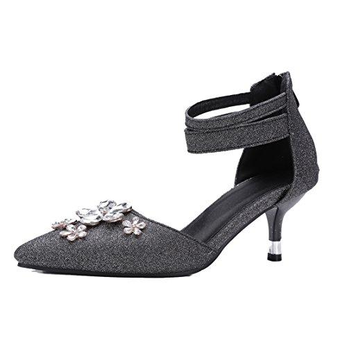 AIYOUMEI Damen Spitz Glitzer Stiletto Kleinem Absatz Pumps mit Strass Kitten Heel Modern Schuhe Schwarz