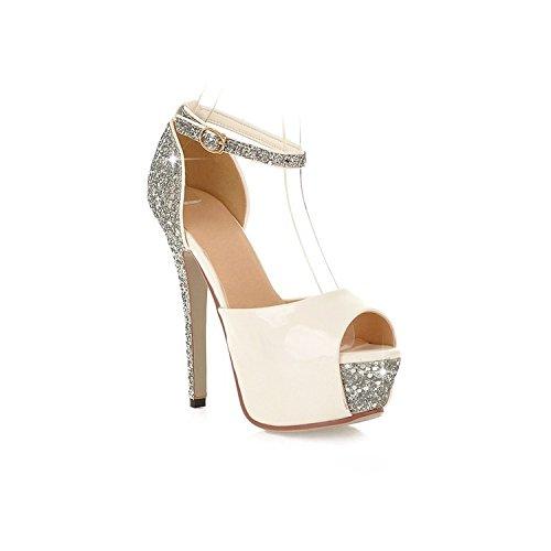 White Belle Scarpe Sandali Tacchi Donna Zhznvx Impermeabili Alti Fibbia Con Da I dPgWqII1wx