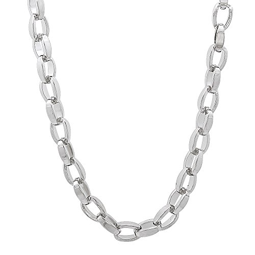 Open Oval Link Necklace - The Bling Factory Solid Stainless Steel 4.5mm Rounded Box Link Open Style Chain Necklace, 22 inches + Jewelry Polishing Cloth