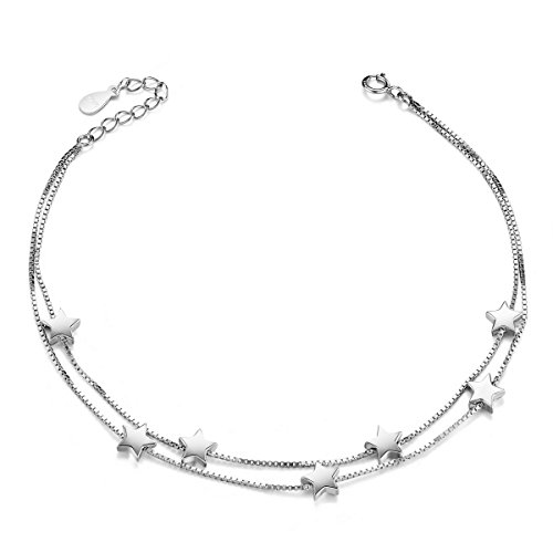 Sterling Silver Double Star (SHEGRACE Double Layered Stars and Chains Anklet Bracelet for Women 925 Sterling Silver Platinum, 210mm)