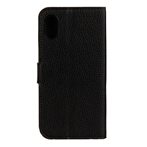 iPhone X Hülle Litchi schwarz PU Leder Wallet Handytasche Flip Etui Schutz Tasche mit Integrierten Card Kartensteckplätzen und Ständer Funktion Für Apple iPhone X / iPhone 10 (2017) 5.8 Zoll + Zwei Ge