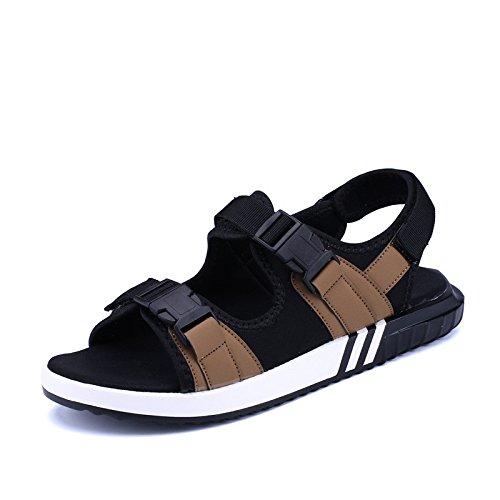 I sandali di estate di Roma Gli uomini caldi di schiocco delle scarpe da spiaggia all'aperto Scarpe universali di formato grande, Brown, UK = 8, EU = 42