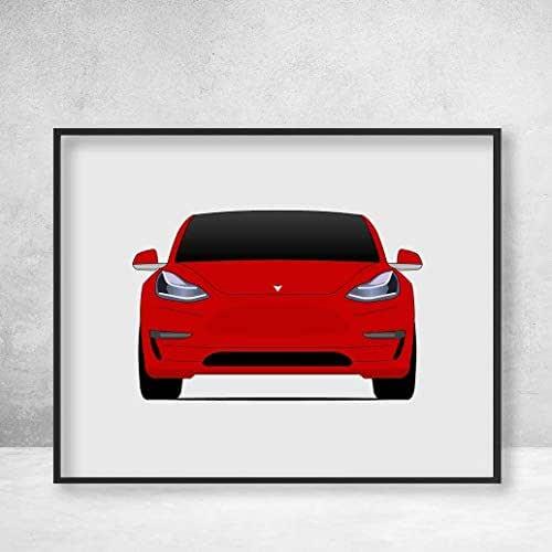 Amazon.com: Poster Inspired by Tesla Model 3 (Tesla Motors ...