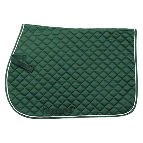 Tough 1 EquiRoyal Square Quilted Cotton Comfort English Saddle Pad, Hunter Green ()