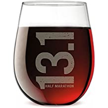 13.1 Marathon Vertical Engraved Stemless Wine Glass | Wine Glasses By Gone For a Run | 15 oz.