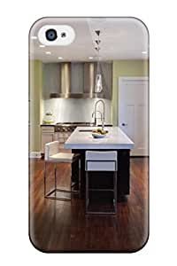 Premium Tpu Modern Kitchen Design With Vivid Green Walls And Black And White Cabinetry Cover Skin For Iphone 4/4s