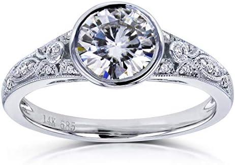 Kobelli Round Moissanite Bezel Vintage Engagement Ring 1 CTW in 14k White Gold