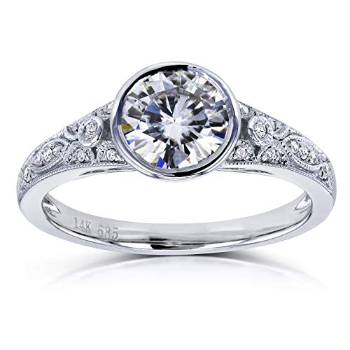 (Round Moissanite Bezel Vintage Engagement Ring 1 CTW in 14k White Gold, Size 7.5, White Gold)