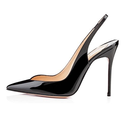 elashe Women High Heels Sandals | Slingback Pumps | Pointed Toe Stiletto | 10cm Court Shoes Black