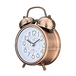 SoundsBeauty Classic Silent Double Bells Quartz Movement Bedside Table Retro Mini Alarm Clock - Red Bronze