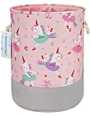 LANGYASHAN Storage Bin,Canvas Fabric Collapsible Organizer Basket for Laundry Hamper,Toy Bins,Gift Baskets, Bedroom, Clothes,Baby Nursery