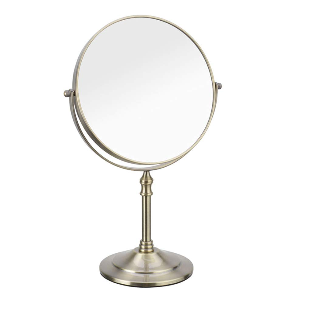 C&Q CQ Creative Makeup Mirror Desktop Double-Sided Dressing Mirror Retro European Beauty Mirror Metal Bronze Color Mirror (Size : S)