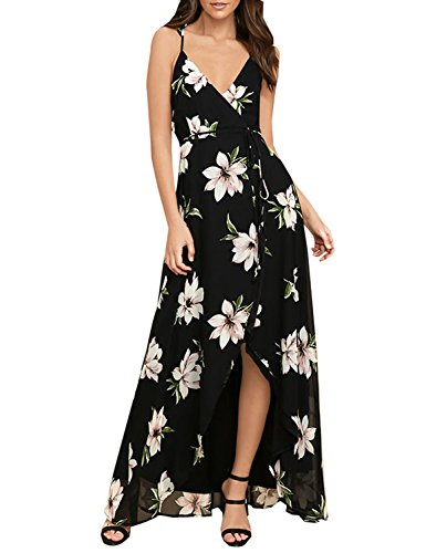 Wrap Chiffon Floral (Blooming Jelly Women's Flowy High Waisted V Neck Backless Spaghetti Strap Split Floral Long Summer Maxi Dress(M,Multicolor))