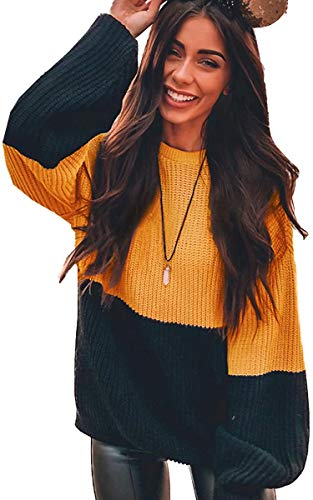 Angashion Women Sweaters-Oversized Chunky Knit Color Block Drop Shoulder Batwing Sleeve Pullover Sweater Tops Yellow Black S