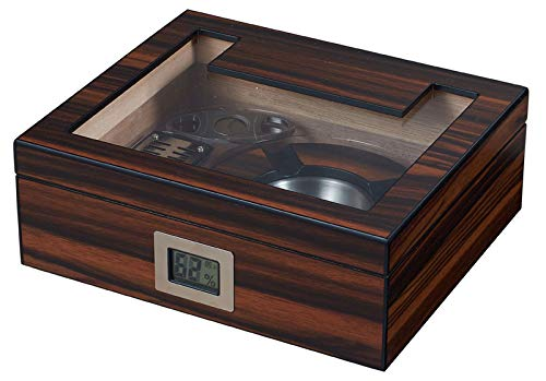 Visol Aidan Glass Top Humidor Gift Set with Cutter and Ashtray with Free Laser Engraved Metal Plate (Roman Monogram) by Visol (Image #3)