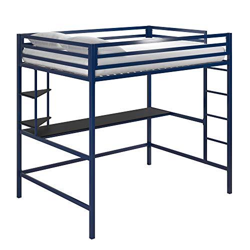 Novogratz Maxwell Metal Full Loft Desk & Shelves, Navy/Black Bunk Beds, Blue
