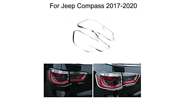 For Compass 2nd Gen 2017-2020 ABS Chrome Rear Tail Light Lamp Cover Trim 4pcs Car Stytle Accessories