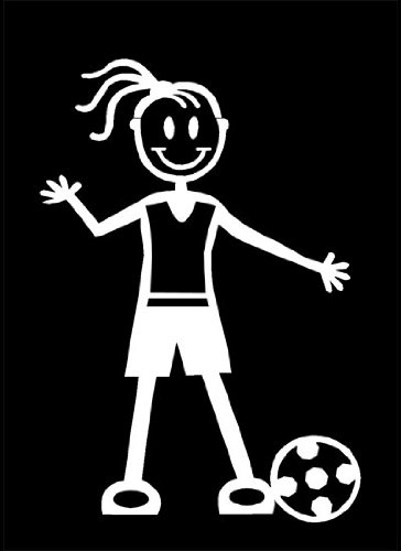 My Stick Figure Family Car Window White Vinyl Bumper Sticker Girl Soccer, Football G2