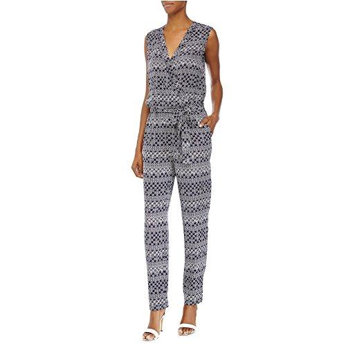 Diane Von Furstenberg Women's Rawena Silk Printed Sleeveless Jumpsuit (2, Moroccan Ditsy Midnight)