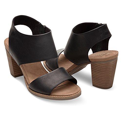 Toms Women's Majorca Cutout Sandal - Black Leather, 10 B(M) US -