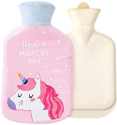 RARITYUS Natural Rubber Hot Water Bottle Warm Water Bag Hand Feet Belly Warmer with Cute Unicorn Soft Plush 0.75 Liter