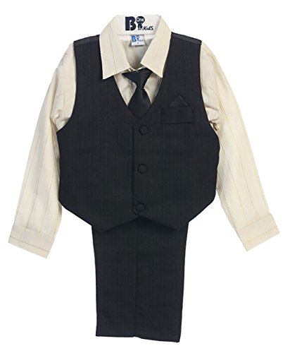 Metallic Stripe Pants - B-one Kids Boys Pinstripe Four-Piece Vest Set Black Size (1-4) (3 (24-36 Months), Black/ Gold Metallic Stripe)