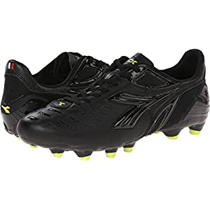 Diadora Men's Maracana L Soccer Cleat, Black/Fluorescent Yellow, 10.5 M US